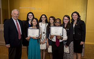 Senator Paul Sarbanes and Phoebe Stein with 2016 LAL state winners.