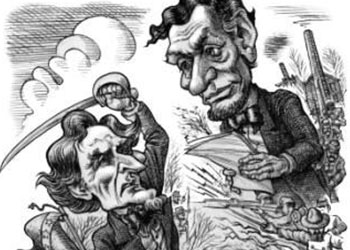 Caricature of Lincoln and Davis