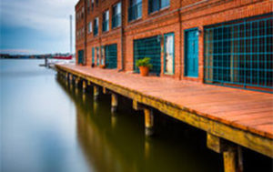 A pier along the waterfront at Canton, Baltimore.