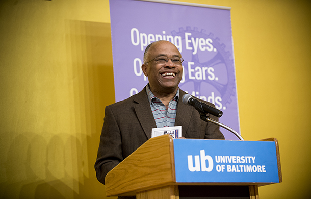 University of Baltimore president Kurt Schmoke welcomes guests to the 2016 Letters About Literature Awards Ceremony.