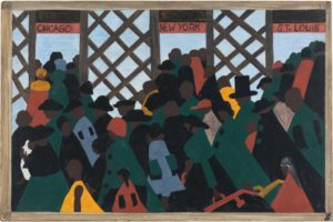 """""""During the World War there was a great migration North by Southern Negroes"""" by Jacob Lawrence"""