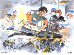 An artistic depiction (drawn and/or painted) of a racially diverse group of 5 doctors, other hospital professionals and one man with a blue uniform that says FDNY. Everyone wears a protective face mask and two workers wear shields. A patient lies on a gurney.