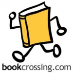 Yellow book with stick arms and legs, and white circles for hands and feet, running. Text: bookcrossing.com