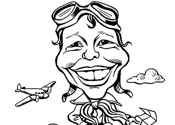 Caricature of Amelia Earhart