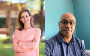 A combined photo of two photos. On the left, stands a white woman with dirty blonde hair in a long-sleeved pale pink shirt. On the right, is a Black man with glasses and a blue polo shirt in front of a blue wall.
