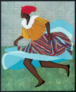 A work of Elizabeth Catlett's of painting of a Black woman running. She wears a red headscarf, a yellow blouse, and a multi-colored skirt, with purple and pink stripes on top, with bright blue at the bottom.