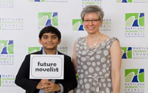 Dhruv Pai and Kimberly Dyar in the photo booth at 2015 Letters About Literature ceremony