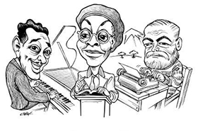 Duke Ellington, Gwendolyn Brooks, and Ernest Hemingway Chautauqua caricature
