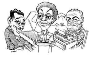 Tom Chalkley caricature of Ellington, Brooks, and Hemingway