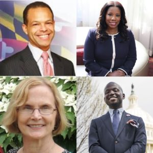 A combination of 4 individual photographs (clockwise starting at the top left): Senator Malcolm Augustine is a Black man with black blazer and pink tie, in front of a backgroudn with the Maryland flag. Aisha N. Braveboy is a Black woman with a navy jacket with a white stripe down the middle; Dr. Oye Owolewa wears a gray blazer and blue tie, in front of a D.C. building; and Barbra Crain, a white blonde woman in front of a tree with flowers on it.