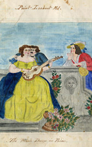 Omenhausser, a Confederate prisoner of war, sketched this fantasy of a better life during his confinement at Point Lookout, Maryland. The unusually shaped guitar that the woman strums was likely drawn from memory and not an actual model, yet the opulent scene of courting a wealthy woman remains timeless. Maryland Manuscripts Collection, item 5213, Special Collections, University of Maryland.