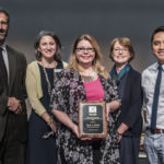 L-R Michael Sarbanes, Dr. Phoebe Stein (Executive Director, Maryland Humanities), Tara A. Elliott (2018 Christine D. Sarbanes Teacher of the Year Award recipient), Becky Brasington Clark (Director of Publishing, Library of Congress), Minh Lê (Keynote Speaker, Author)