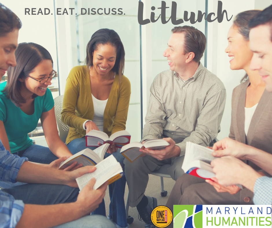 2018 LitLunch image. Group of diverse people gathered discussing a book.
