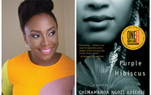 Adichie and Purple Hibiscus book cover