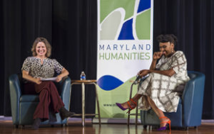 Dr Joanne Bagshaw and Chimamanda Ngozi Adichie live in conversation at Gaithersburg High School.