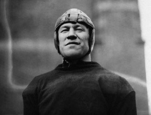 Original caption: James Thorpe (1888-1953), athlete, shown in his football gear.  Head and shoulders photograph.